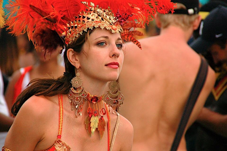 Toronto Caribana white girl in costume