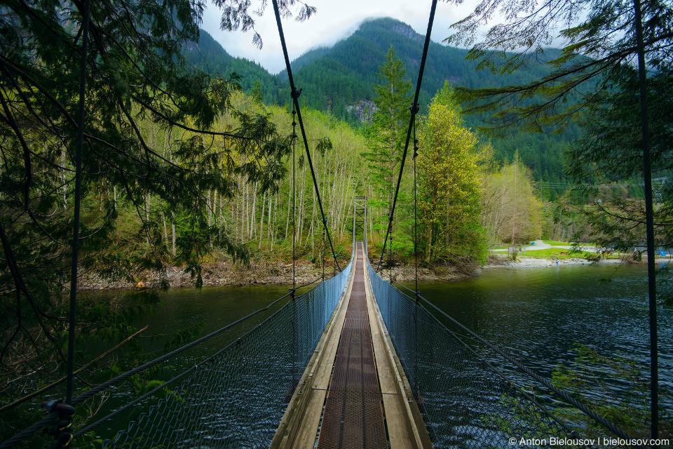 The Suspension Bridge across the north end of Buntzen Lake