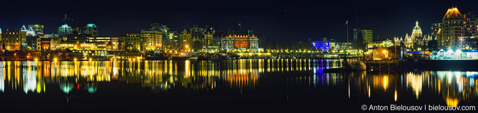 Панораа ночного порта Виктории